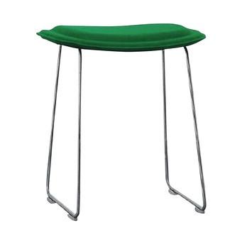Cappellini - Hi Pad Hocker 45cm - grün/Stoff Hallingdal 960D/Gestell satinierter Edelstahl