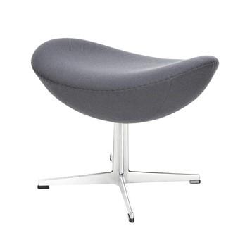Fritz Hansen - Egg Chair/ Das Ei Fußhocker Stoff - anthrazit/Gestell aluminium/Stoff Fame 60019