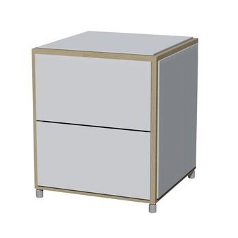 Flötotto - ADD H2 Nachttisch mit Schubladen - weiß/Melamin/ Eiche gekalkt/43,7x43,7x50,6cm/2 Schubladen