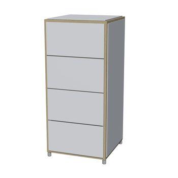 Flötotto - ADD H4 Kommode schmal - weiß/Melamin/ Eiche gekalkt/43,7x43,7x95m/4 Schubladen