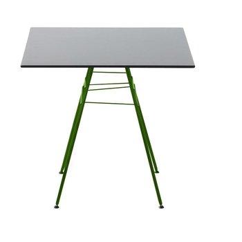 Arper - Leaf Gartentisch quadratisch - grau/Gestell matt grün/lackiert/Tischplatte aus MDF hydrophob/H x L x B: 74 x 79 x 79cm