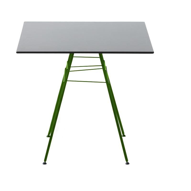 Arper Leaf Garden Table Square Grey Frame Green