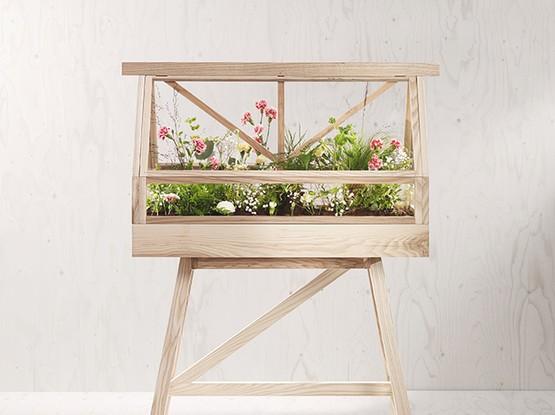 Holzstuhl mit Pflanzen