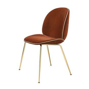 Gubi - Beetle Chair Samtpolster und Gestell in Messing - rot-braun/Samt Velluto G075/641/BxHxT 56x87x58cm/Biese in Velluto G075/208/ Gestell Messing