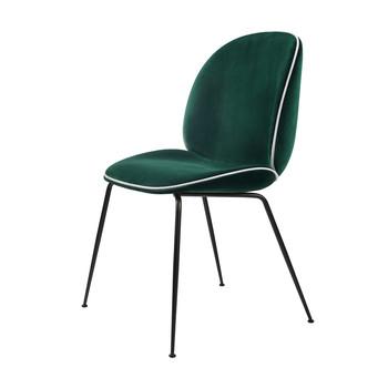 - Beetle Chair Samtpolster und Gestell in schwarz - dunkelgrün/Samt Velluto G075/787/BxHxT 56x87x58cm/Biese in Luce 53/ Gestell schwarz