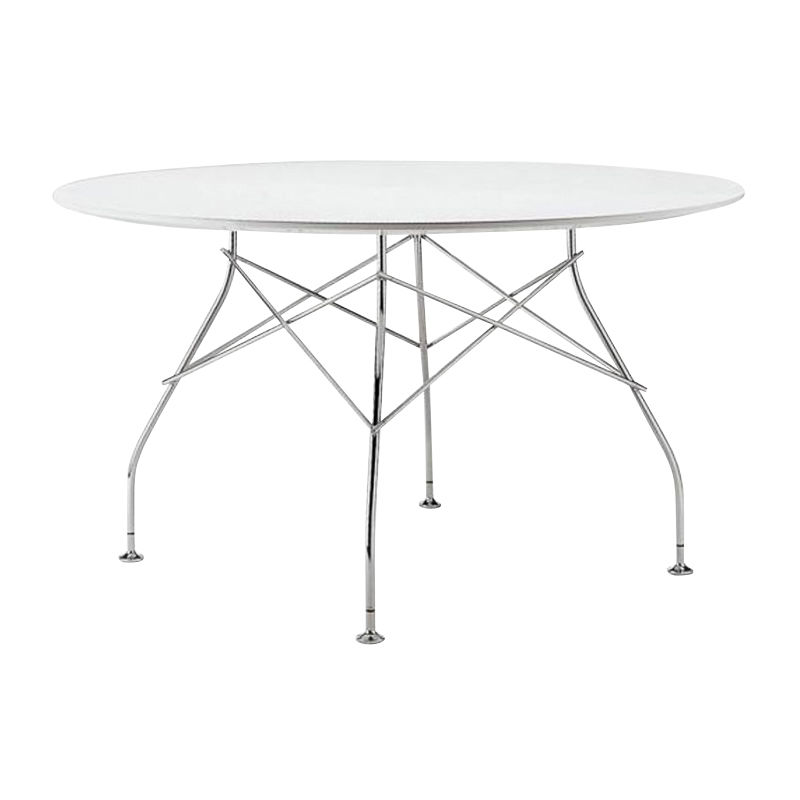 Glossy Dining Table Round Frame Silver Kartell AmbienteDirectcom