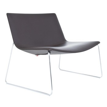 Arper - Catifa 80 2010 Lounge Chair mit Kufe - dunkelbraun/Gestell chrom/Leder/H x B x T: 71 x 84 x 60.5cm