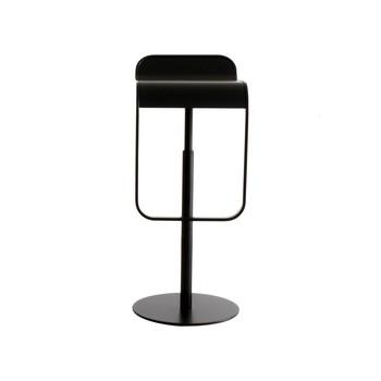 la palma - Lem 66-79 Barhocker mit Leder  - schwarz/lackiert/höhenverstellbar von 74 bis 87 cm/Sitzfläche aus Leder