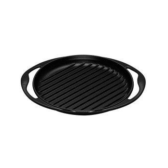 Le Creuset - Le Creuset Grillplatte rund - schwarz/Ø25cm/backofengeeignet/für alle Herdarten geeignet