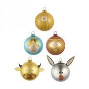 Alessi - Palle Presepe Weihnachtsbaumkugel-Set 1 - gelb/blau/braun/gold/bestehend aus 5 Kugeln:/Christkind/Maria/Joseph/Esel/Ochse