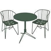Fermob - Flower Set 2 Gartenstühle + 1 Gartentisch - zederngrün/lackiert