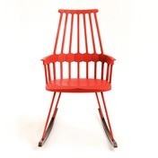 Kartell - Comback Chair Schaukelstuhl - orangerot/Kufen Esche gebeizt