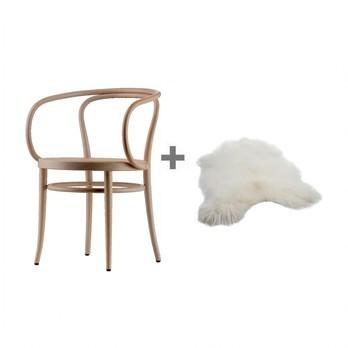 Thonet - Aktionsset 209 Bugholz-Armlehnstuhl + Fell - buche natur/Rohrgeflecht mit Nertzverstärkung/inkl. Kunststoffgleiter/54x75x57cm/Island Lammfell gratis!
