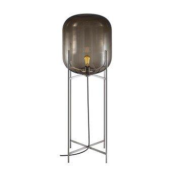pulpo - Oda Big Bodenleuchte H 140cm - rauchgrau/transparent/Gestell chrom