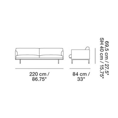 Muuto - Outline Sofa 3 Sitzer - Strichzeichnung