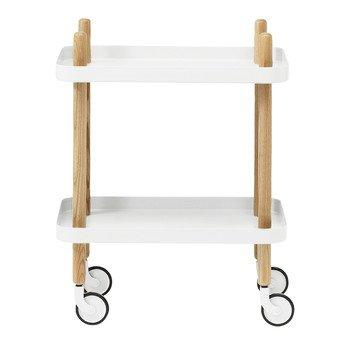 Normann Copenhagen - Block Beistelltisch/Servierwagen - weiß/Gestell Esche