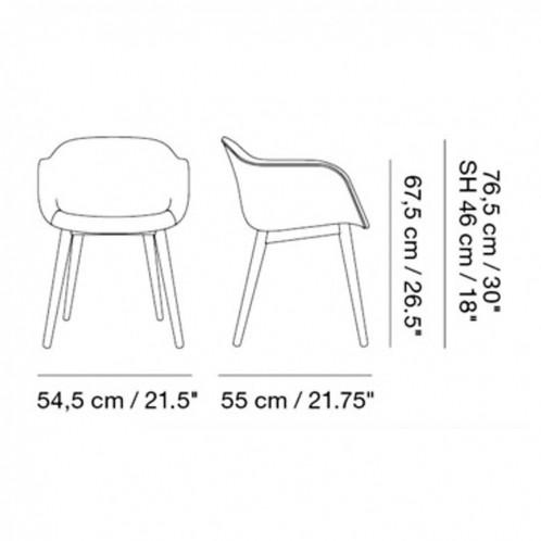Muuto - Fiber Armlehnstuhl gepolstert mit Holzgestell - Strichzeichnung