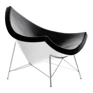 Vitra - Coconut Chair Nelson Sessel - Schale weiß/Bezug Leder schwarz/mit Filzgleitern