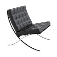 Knoll International - Barcelona Chair - black/frame chrome/leather Velluto Pelle