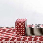 GAN - Kilim Catania Modulo A1 Pouf   - rot/weiß/schwarz