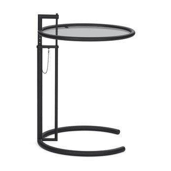 ClassiCon - Adjustable Table E 1027 Beistelltisch - rauchgrau/Parsolglas/Gestell schwarz
