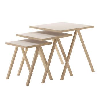 Cappellini - Hiip Beistelltisch-Set - weiß gebleichte Esche/3 Tische mit unterschiedlichen Größen