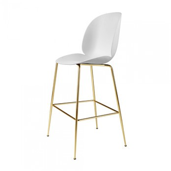 Gubi - Beetle Bar Chair Barhocker Messing 118cm - weiß/Sitz Polypropylen-Kunststoff/BxHxT 56x118x58cm/Gestell Messing