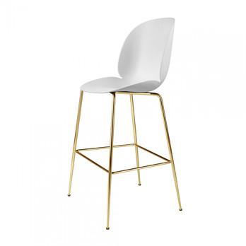 Gubi - Beetle Bar Chair Barhocker Messing 118cm - weiß/Sitz Polypropylen-Kunststoff/BxHxT 56x118x58cm/Gestell Messing