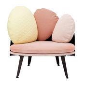 Petite Friture - Nubilo Sessel 77x70cm - korallenrot/weiß/gelb/inkl. 3 Kissen