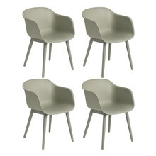 Muuto - Fiber Armchair With Wood Base Set Of 4