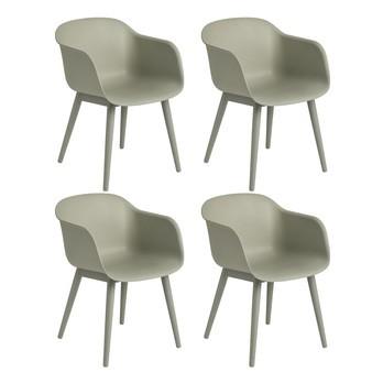 Muuto - Fiber Armlehnstuhl mit Holzgestell 4er Set - staubgrün/Sitzfläche Holzfaser/Kunststoff-Ver/BxHxT 54,5x76,5x55cm/Gestell Eiche staubgrün lackiert