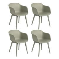 Muuto - Fiber Armchair With Wood Base Set Of 4