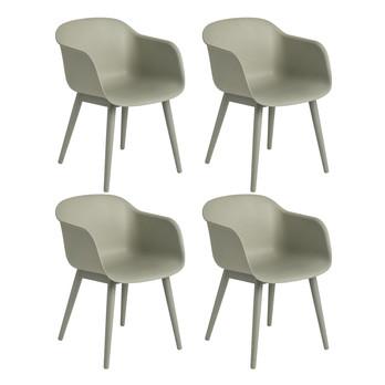 - Fiber Armlehnstuhl mit Holzgestell 4er Set - staubgrün/Sitzfläche Holzfaser/Kunststoff-Ver/BxHxT 54,5x76,5x55cm/Gestell Eiche staubgrün lackiert