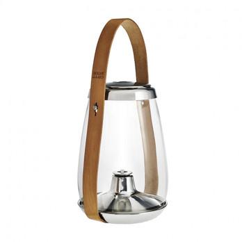 - Design with Light Öllaterne - transparent/edelstahl/braun/Lieferung ohne Öl/H 33.1cm/Ø 15cm