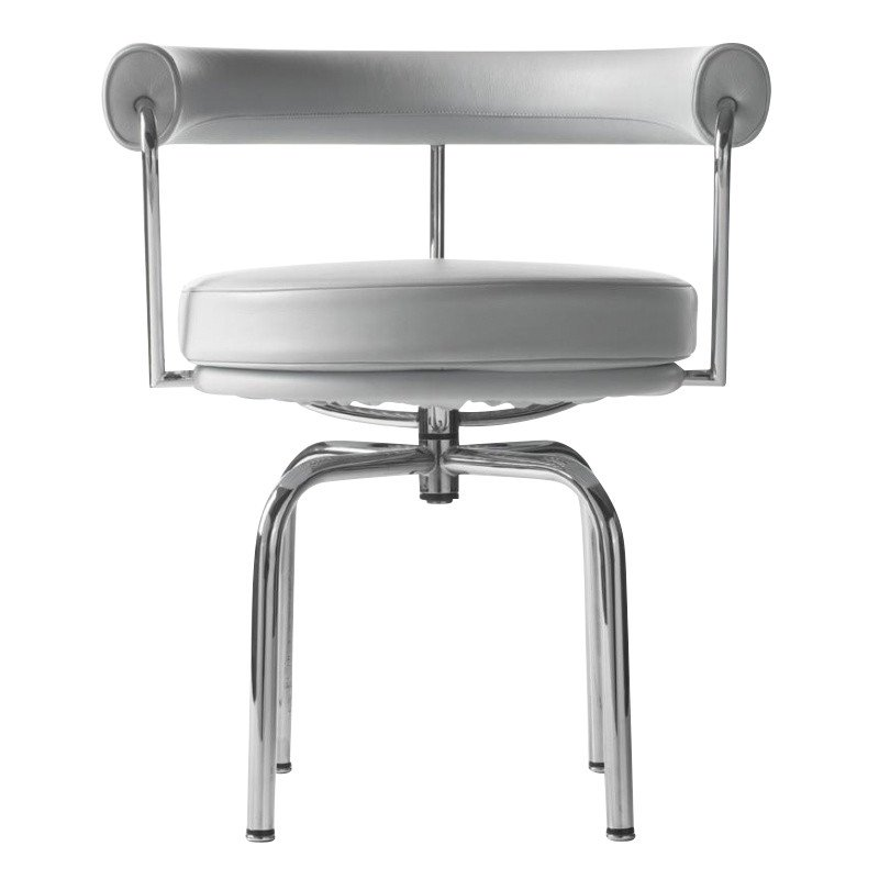 Cassina   Le Corbusier LC7 Swivel Armchair   White/leather LCX 13X414/frame  Chrome ...
