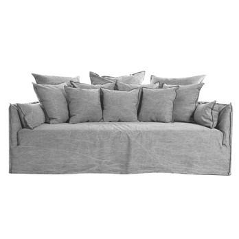 Gervasoni - Ghost 16 Sofa 220x130cm - grau/Naht anthrazit/Stoff: Jack Grigio/inkl. 4 Kissen 50x50/2 Armlehnkissen 100x300//4 Kissen 60x60/3 Rückenkissen 80x80