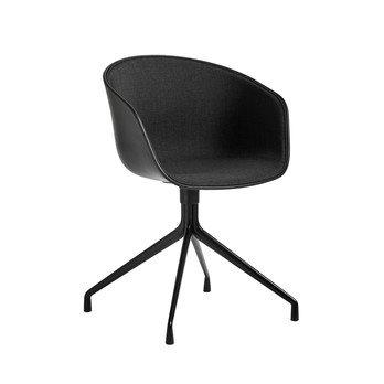 HAY - About a Chair 20 Armlehndrehstuhl gepolstert - schwarz/Stoff Remix 183/Gestell schwarz/mit Spiegelpolster
