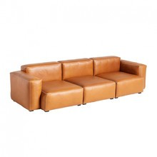HAY - Mags Soft 3 Seater Sofa Low Armrest Leather