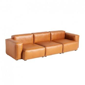 HAY - Mags Soft 3-Sitzer Sofa Armlehne niedrig Leder