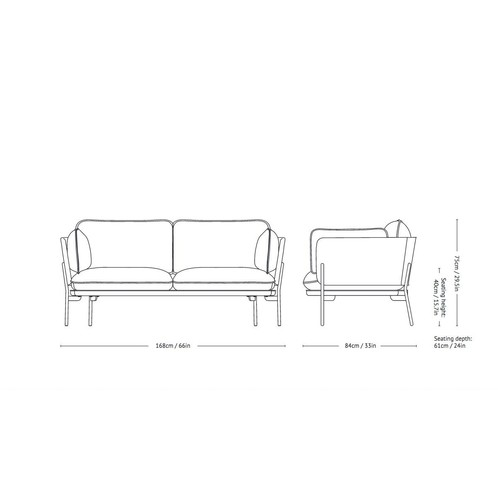 &tradition - Cloud LN2 Sofa 2-Sitzer - Strichzeichnung