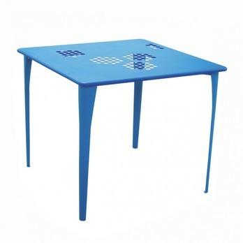 emu - Pattern Gartentisch 87x87cm - blau/pulverbeschichtet/LxBxH 87x87x75cm