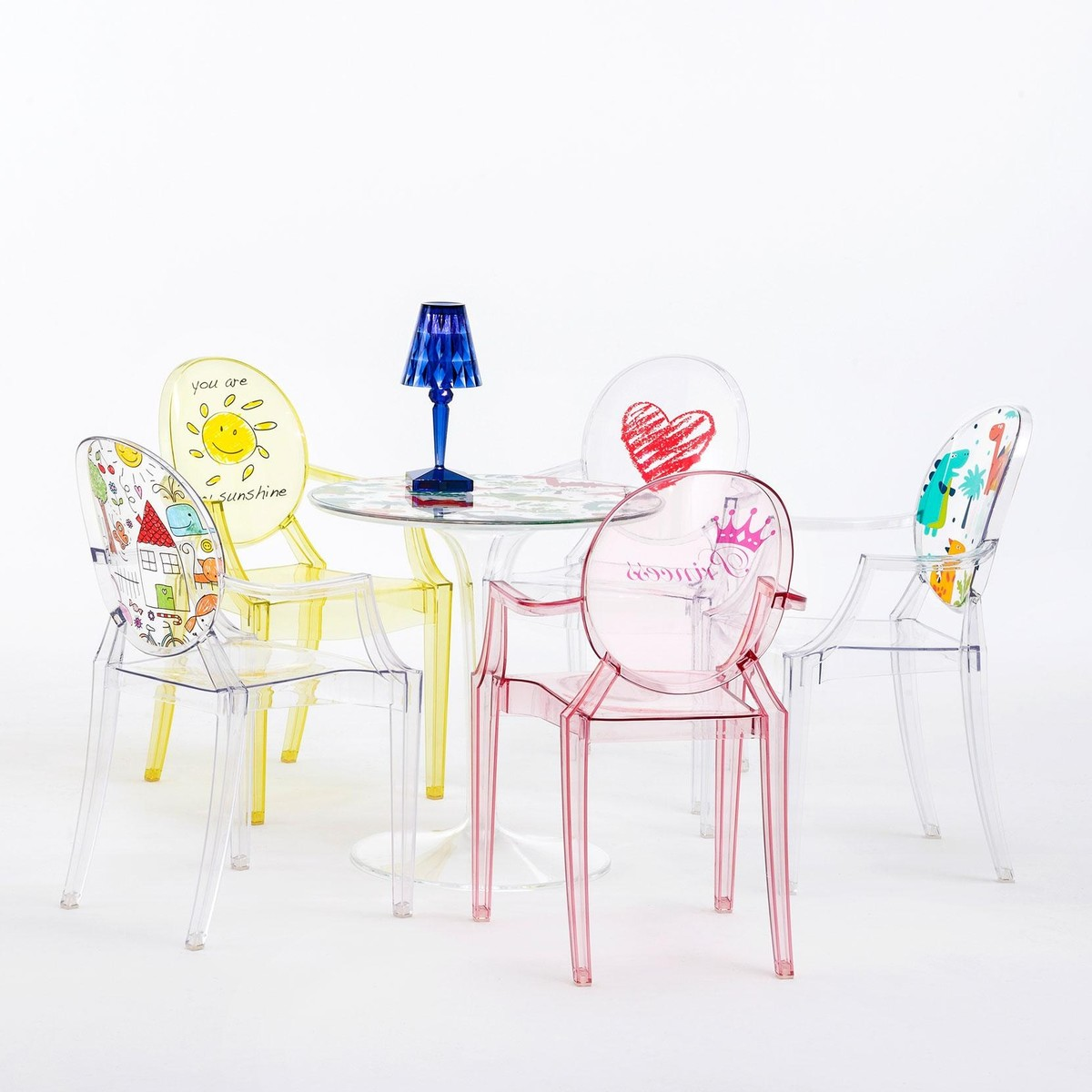 Lou lou ghost children 39 s chair with motive kartell for Kartell binasco