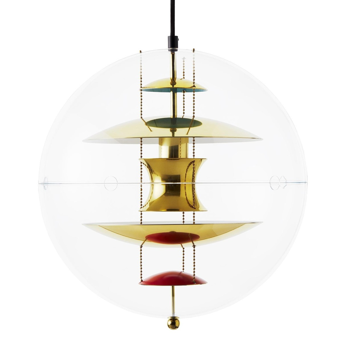Vp globe brass suspension lamp verpan for Suspension 4 lampes