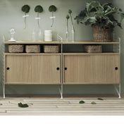 String - String Kitchen Sideboard - eiche/2 Schränkchen mit Schiebetüren/Seitenteile weiß/H x B x 58 x 32cm