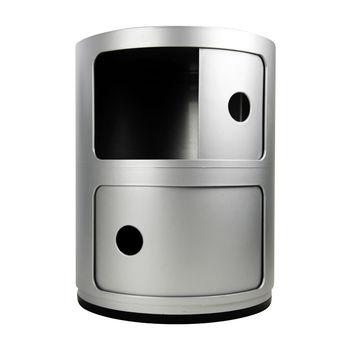 Kartell - Componibili 2 Container - silber/matt/H 40cm/ Ø 32cm