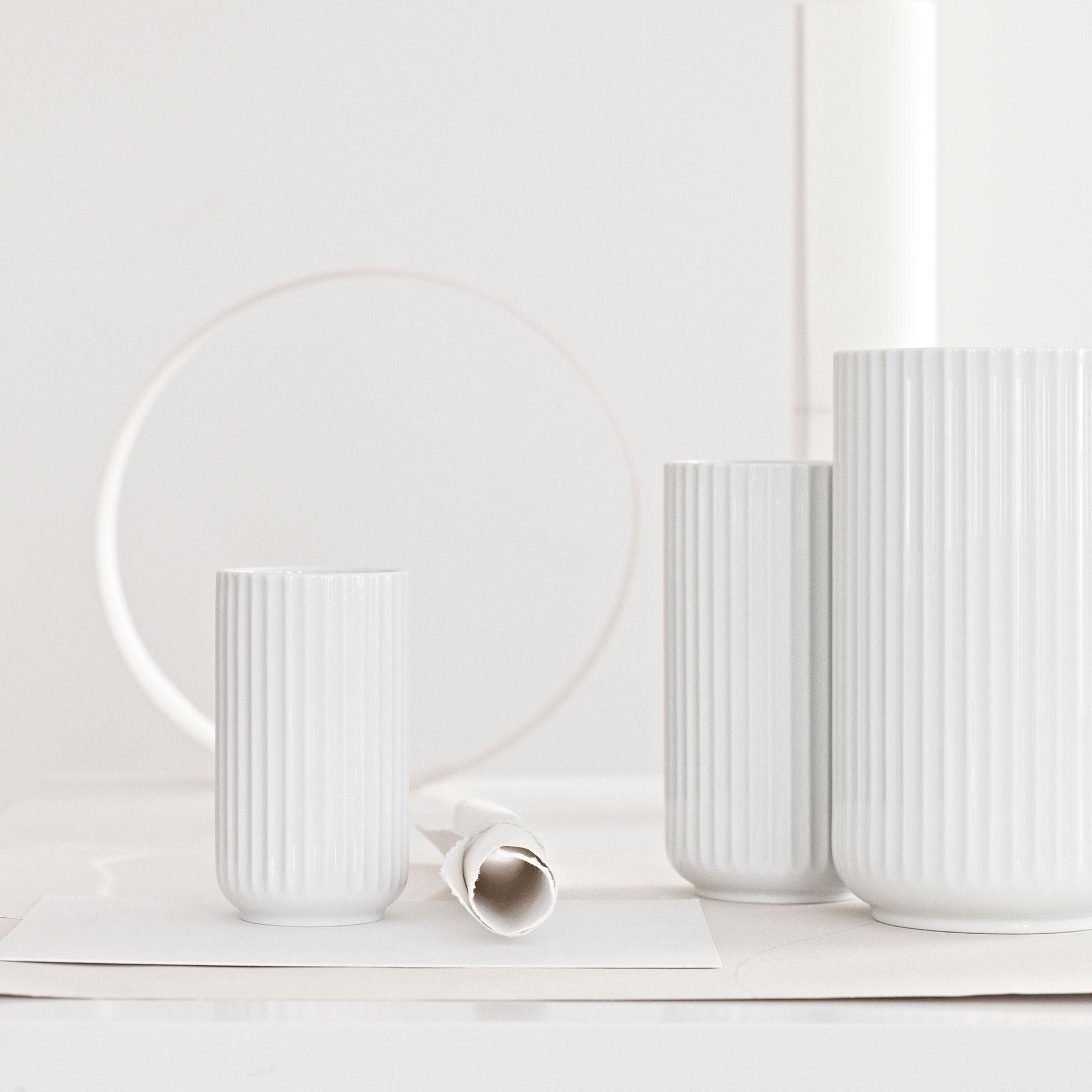 20 cm Lyngby Porzellan Vase matt weiß