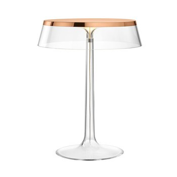 Flos - Bon Jour LED Tischleuchte Kupfer - transparent/Schirm: Kunststoff/H 41cm/ Ø 31,6cm/Gestell transparent/kupfer