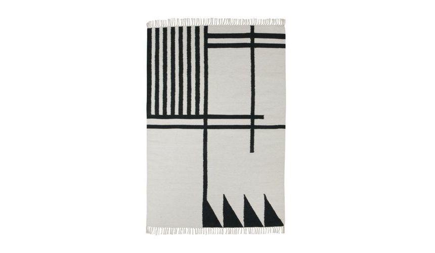 kelim black lines teppich ferm living. Black Bedroom Furniture Sets. Home Design Ideas