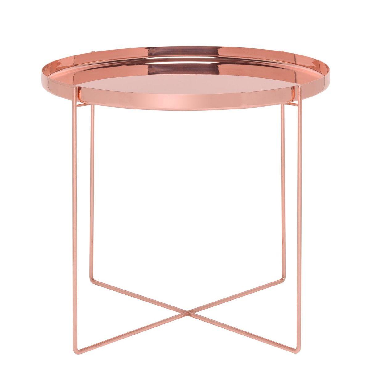E15   E15 Habibi Side Table / Tray CM05   Copper/polished/Ø 57cm