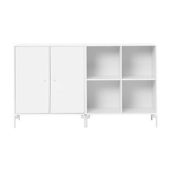 Montana - Pair Sideboard 139,2x82,2x38cm - new white 101/lackiert/1 Element mit Türen/1 Element offen/mit weißen Füßen